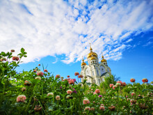 Flowers And Temple With Golden...
