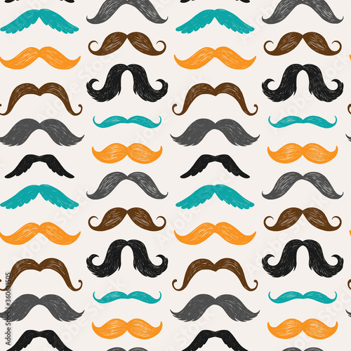 Obraz na plátně Vector seamless pattern with mustache silhouettes