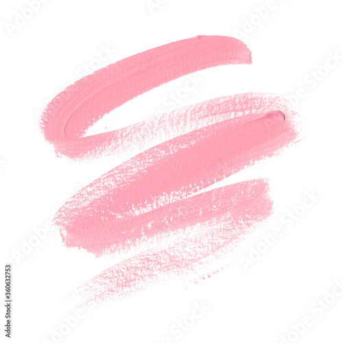 Pink lipstick smudge trace isolated on white background Fotobehang