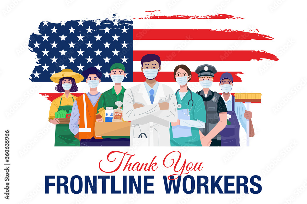 Fototapeta Thank you frontline workers. Various occupations people standing with American flag. Vector