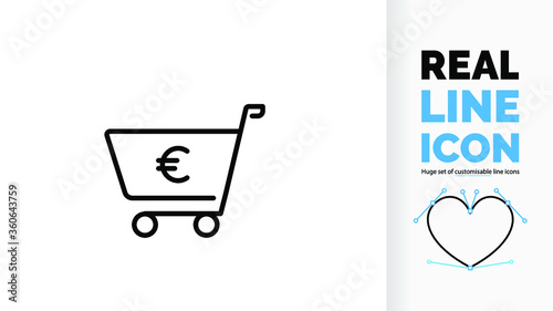 Fotografía Editable line icon of a shopping cart with a euro sign, part of a huge set of ed