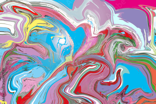 Fotografie, Obraz Multicolored painted abstract streams