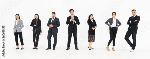 Fototapeta Full body portrait of many business people on white background wearing formal business suit in studio collection . obraz