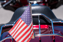US Flag On The Back Of A  Moto...