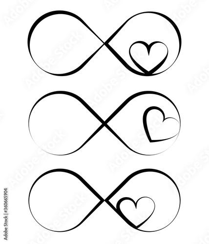 Fototapeta Infinity symbols intertwined with heart