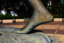 The Left Foot Of A Woman Statue