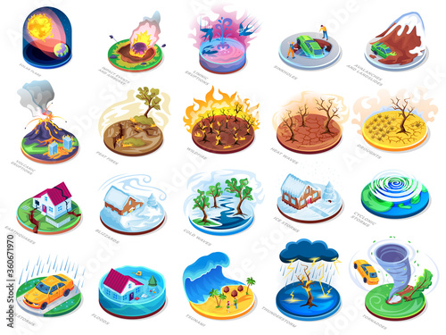 Natural disasters vector isometric or flat icons set, nature catastrophes and insurance damage accidents Tapéta, Fotótapéta