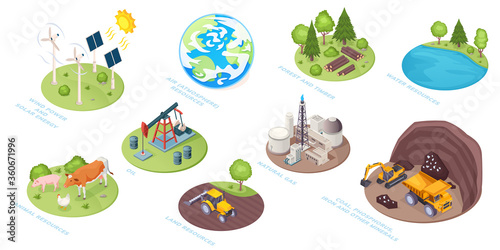 Canvas Print Natural resources icons, eco nature and renewable energy sources, vector isometric