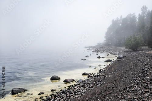 Fototapeta Rocks on beach of Ladoga lake in Russia with mist and fog