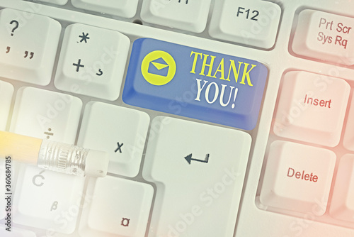 Writing note showing Thank You Wallpaper Mural
