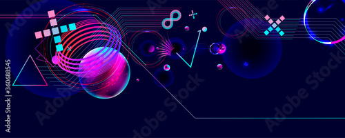Dark retro futuristic art neon abstraction background cosmos new art 3d starry s Fototapeta
