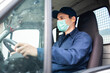 canvas print picture - Truck driver giving driving a van during coronavirus pandemic
