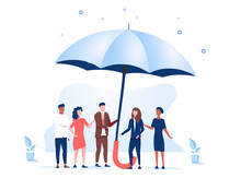 Vector Illustration, Support Each Other Concept, People Stand Under Umbrella Under Protection. People Holding Umbrella