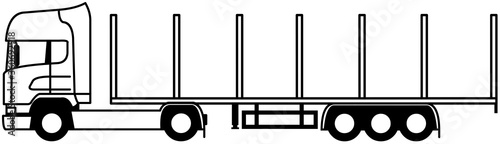 Photographie Log truck - Logging truck - timber lorry - log semi trailer - timber trailer - s