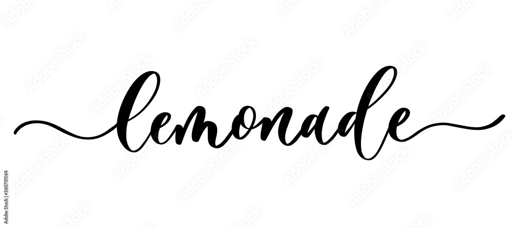 Fototapeta Lemonade - vector calligraphic inscription with smooth lines. Minimalistic hand lettering illustration.