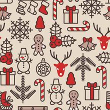 Christmas Background, Seamless...