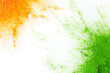 canvas print picture - Orange and green color powder splash. Concept for India independence day, 15th of august.