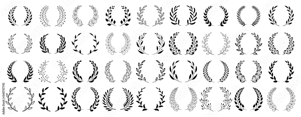 Fototapeta Set of black circular foliate laurels branches. Vintage laurel wreaths collection. Hand drawn vector laurel leaves decorative elements. Leaves, swirls, ornate, award, icon. Vector illustration.