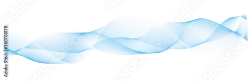 abstract blue wave lines on white background Tablou Canvas