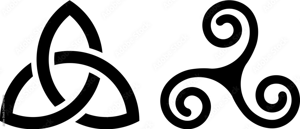 Fototapeta Celtic Triquetra knot and Celtic spiral isolated on white.
