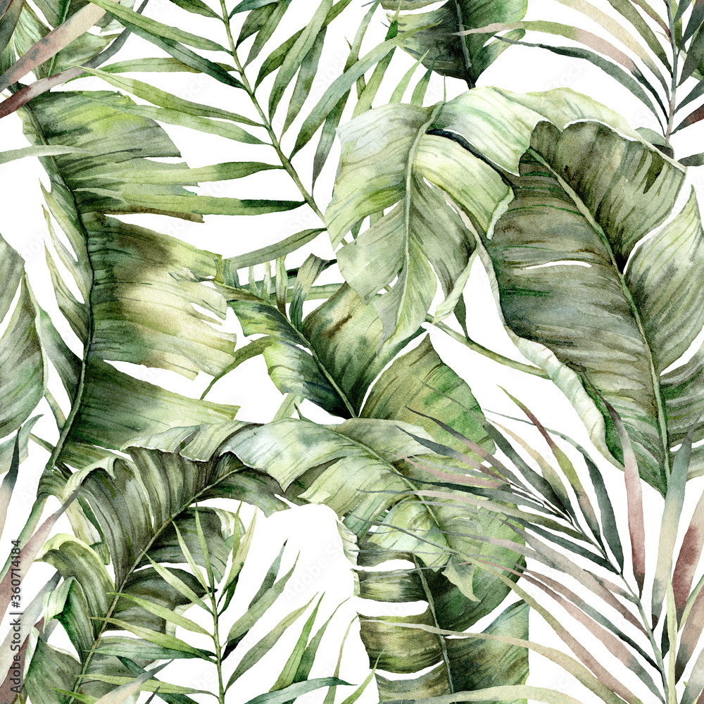 Fototapeta Watercolor seamless pattern with tropical palm leaves. Hand painted exotic leaves and branches isolated on white background. Floral jungle illustration for design, print, fabric or background.