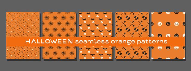 Set of five Halloween seamless orange patterns, vector illustration