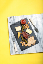 Overhead Shot Of A Cheese Plate