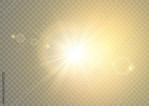 Vector transparent sunlight special lens flare light effect. Wallpaper Mural