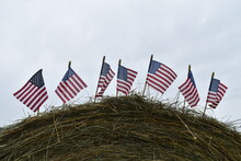 American Flags On A Hay Bale