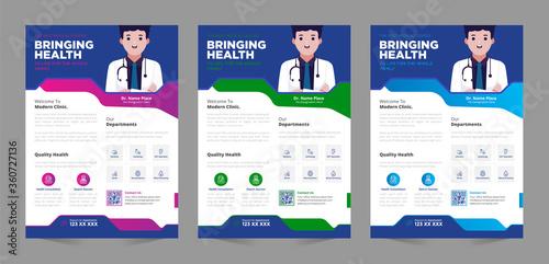 Medical poster flyer pamphlet brochure cover design layout space for photo back Fototapet