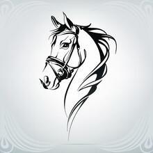 Horse Head Silhouette In Ornam...