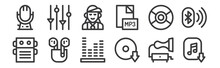 12 Set Of Linear Music Icons. ...