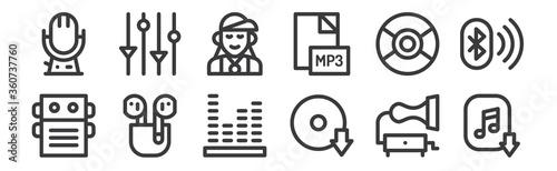 Cuadros en Lienzo 12 set of linear music icons