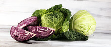 Three Fresh Organic Cabbage He...