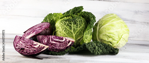 Vászonkép Three fresh organic cabbage heads