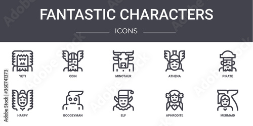 Photo fantastic characters concept line icons set
