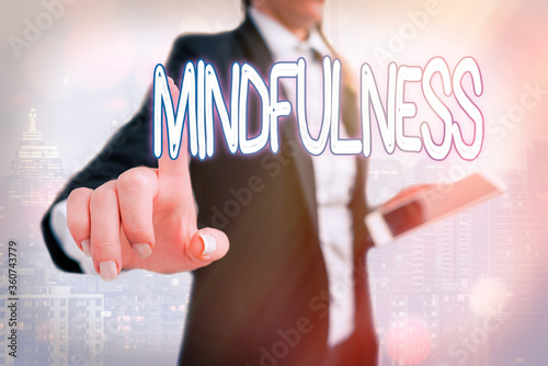 Photo Writing note showing Mindfulness