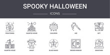 Spooky Halloween Concept Line Icons Set. Contains Icons Usable For Web, Logo, Ui/ux Such As Haunted House, Axe, Haunted House, Black Magic, Broken Window, Graveyard, Gift, Cauldron