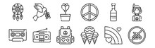 12 Set Of Linear Hippies Icons...