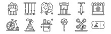 12 Set Of Linear Circus Icons....