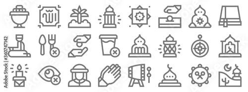 ramadan line icons Canvas Print