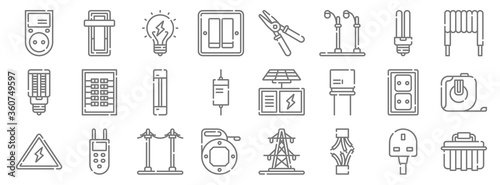 Photo electrician tools and line icons