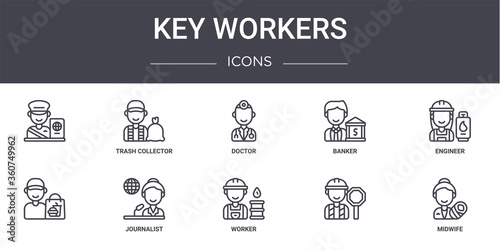 Fototapeta key workers concept line icons set. contains icons usable for web, logo, ui/ux such as trash collector, banker, , worker, midwife, engineer, obraz na płótnie