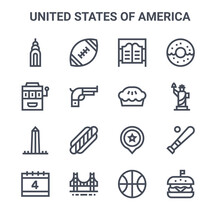 Set Of 16 United States Of Ame...