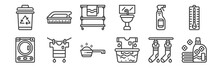 12 Set Of Linear Laundry Icons...