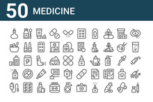Set Of 50 Medicine Icons. Outline Thin Line Icons Such As Inoculate, Iv Bag, Aerosol, Mixture, Ayurvedic, Syrup, Eye Drops