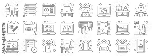 Canvas Print home line icons