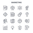 set of 16 marketing concept vector line icons. 64x64 thin stroke icons such as time, target audience, money, money, creativity, smartphone, directional, time management, world