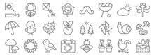 Spring Line Icons. Linear Set....