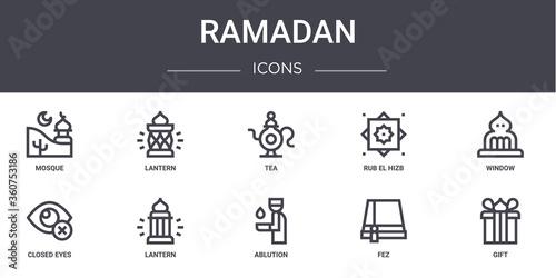 Fotografija ramadan concept line icons set